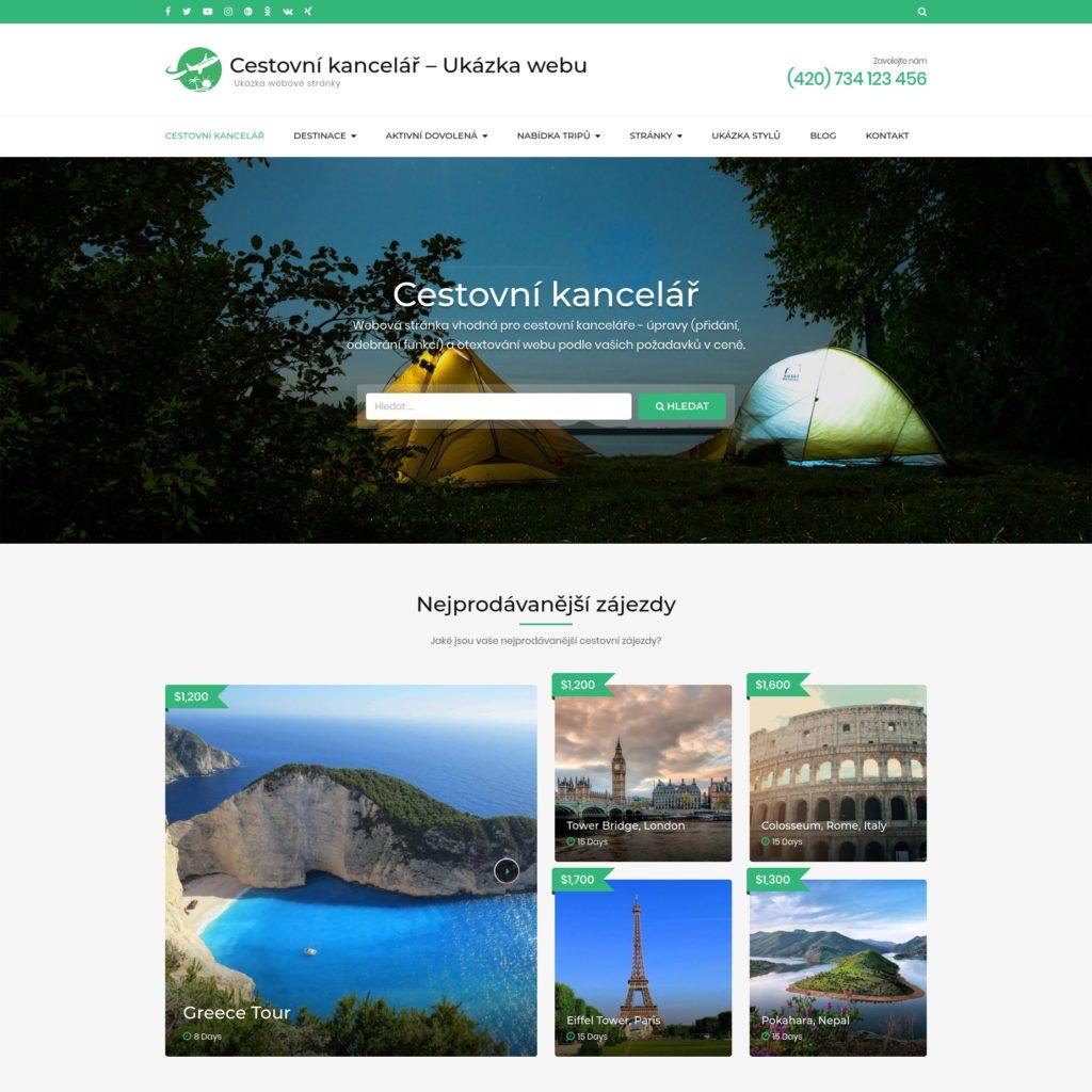 Cestovní kancelář - web pro cestovky